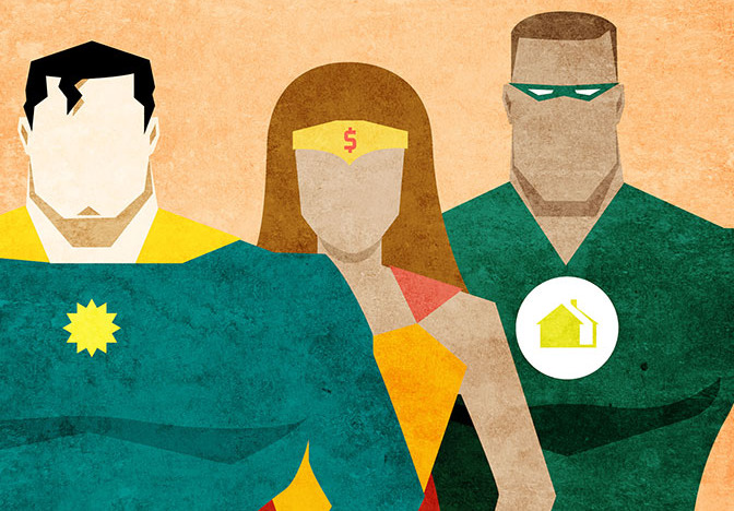 Graphic of three superheroes